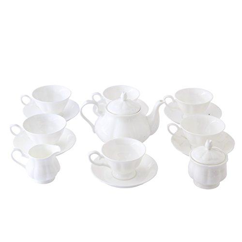 ufengke 15 Piece English Bone China Tea Cup Sets, Modern Ceramic Coffee Sets For Girls, Tea Service, White