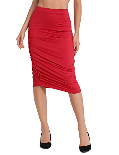 Lomantise Pencil-Skirt Plus Size with Ruffle,High-Waist for Maternity US 6/8 ()