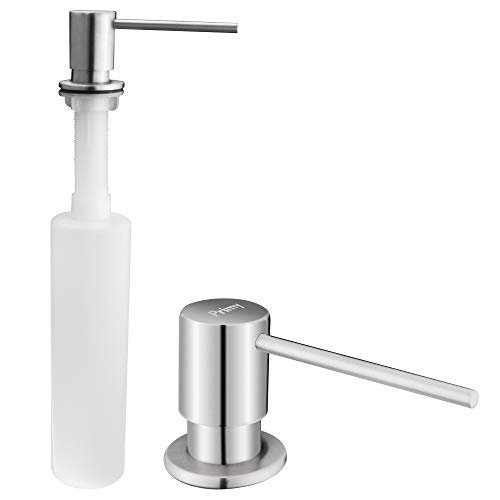 Granite Soap - Primy Soap Dispenser for Kitchen Sink Refill From The Top with Large 17 oz Bottle - 3.5 Inch Threaded Tube for Granite Installation - 4 Inch Extra Long Spout - Stainless Steel Dispenser