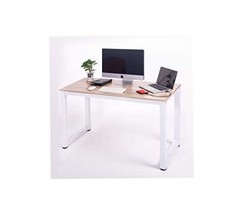 (Modern Simple Design Computer Desk Table Workstation for Home & Office (White and Oak))