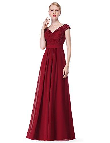 Vestido Las Cuello V Elegantes de de Borgoña Vestido Mujeres Maxi Ever Pretty Vestidos Vestidos Gasa para de Fiesta 8633 twCqv6p