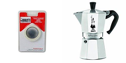 Bialetti Moka Express – Cafetera italiana (9 tazas), aluminio, metalizado, 9 Cup with Gasket Pack