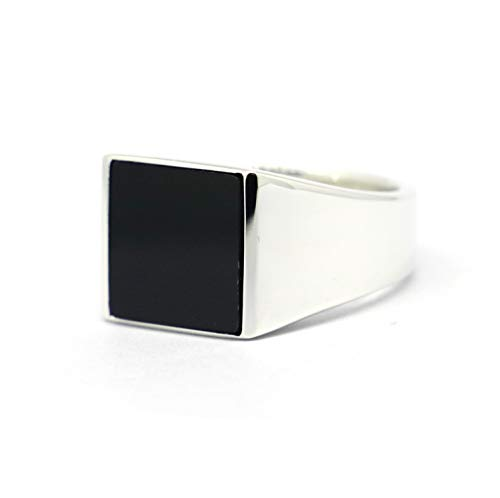 JWEIMIN1982 Genuine Sterling Silver Mens Black Onyx Square Signet Ring (13)
