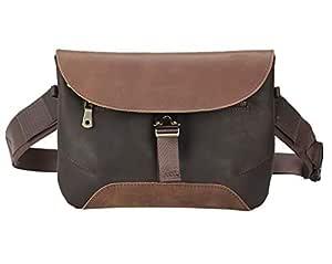Polare Unisex Brown Retro Full Grain Leather Waist Bag Messenger Fanny Pack Bum Bag with YKK Metal Zipper