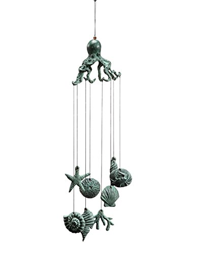 SPI Home Octopus Wind Chimes 30 Inch Cast Iron Garden Decor