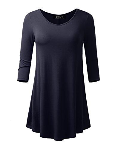 3/4 Sleeve Short Shorts Sleeve - BILY Women's V-neck 3/4 Sleeve Tunic Navy X-Large