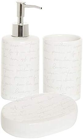 DCASA Pack Tres Productos para el baño cerámica Blanca Decorada ...