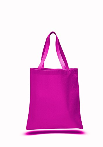 5 Pack Promotional Priced Heavy Cotton Canvas Shopping Blank Tote Bag Art Craft (hot pink)