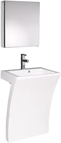 Fresca Bath FVN5024WH Quadro Pedestal Vanity Sink with Medicine Cabinet, White