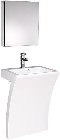 Fresca Bath FVN5024WH Quadro Pedestal Vanity Sink with Medicine Cabinet, White