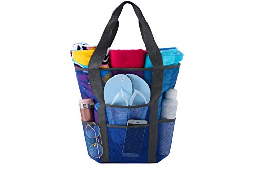 Price comparison product image Large Travel Tote Mesh Beach Bags for Women Sand, Toys, Towels, Groceries, Quick Dry, Waterproof, Durable.21Lx15Hx8W Inch (Blue)