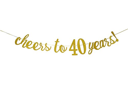 (E&L Cheers to 40 Years Banner - Happy 40th Birthday Party Decorations - 40th Wedding Anniversary Decorations)