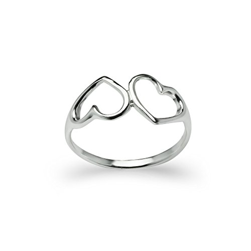 Double Heart Ring (Sterling Silver Double Heart Ring - Polished Cut Out Fine Jewelry Women Size 10)