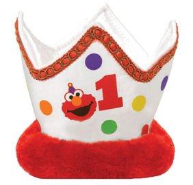 Elmo 1st Birthday Plush Crown Hat Party Supplies Elmo Sesame Street Fun to be (Sesame Street Party Hats)