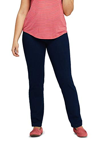 Lands End Tall Jeans - Lands' End Women's Plus Size Starfish Elastic Waist Knit Jeans Straight Leg Mid Rise, 3X, Indigo