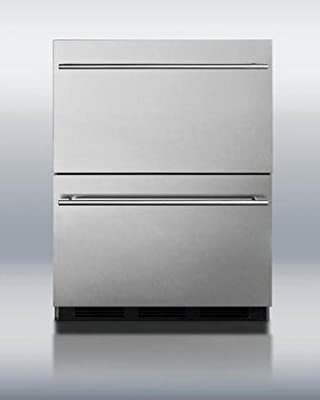 """Summit SP6DS2D7ADA 24"""" 5.4 cu.ft. Commercially Approved Double Drawer ADA Compliant Refrigerator Automatic Defrost Adjustable Thermostat 100% CFC Free: Stainless"""