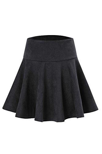 YACUN Femmes Faux Sude Stretchy Torch Mini Jupe Patineuse Artistique Black