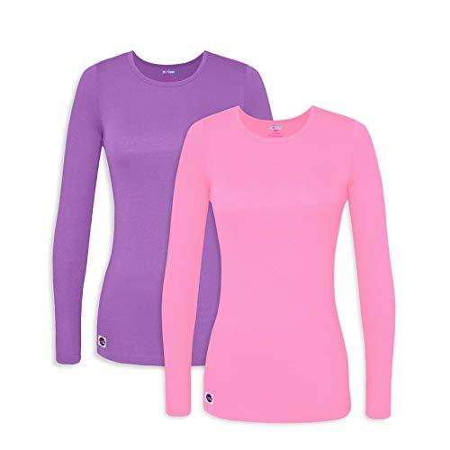 (Sivvan 2 Pack Women's Comfort Long Sleeve T-Shirt/Underscrub Tee - S85002 - Lavnder/Sherbet - XL)