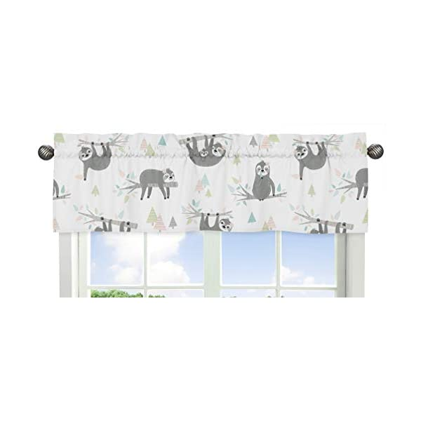 Sweet Jojo Designs Pink and Grey Jungle Sloth Leaf Window Treatment Valance – Blush, Turquoise, Gray and Green Botanical Rainforest