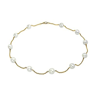 Bling Jewelry Freshwater Cultured Pearl 14K Yellow Gold Tin Cup Necklace hot sale