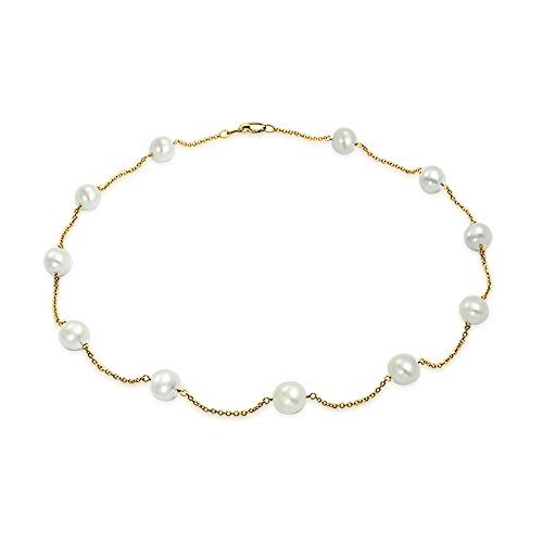Simple Real 14K Yellow Gold Tin Cup White Freshwater Cultured Pearl Necklace For Women 16 Inch