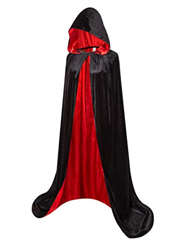 GRACIN Adult Velvet Hooded Cloak, Halloween Vampire Cape Medieval Cloak Lined with Satin (Large, Black Red) ()