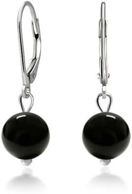 Bling Jewelry 925 Sterling Silver Leverback Dyed Bead Dangle Earrings