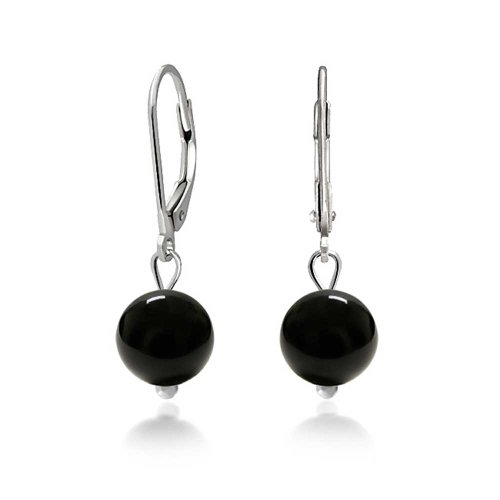 Bling Jewelry .925 Silver Leverback Reconstituted Black Onyx Bead Earrings