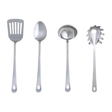 Ikea 300.833.34 Grunka 4-Piece kitchen Utensil Set, Stainless Steel, Silver
