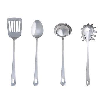IKEA Grunka - 4 piezas utensilios de cocina, acero ...