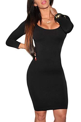 Womens Long Sleeves Crewneck Bodycon Bandage Midi Evening Dresses in Black Small]()