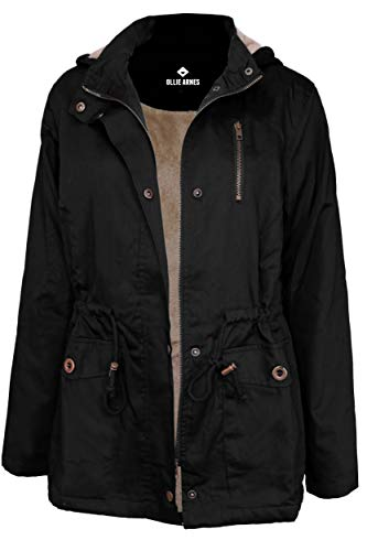 OLLIE ARNES Women's Quilted or Inner Fur Lined Sherpa Anorak Down Parka Jacket J85_Black 3XL