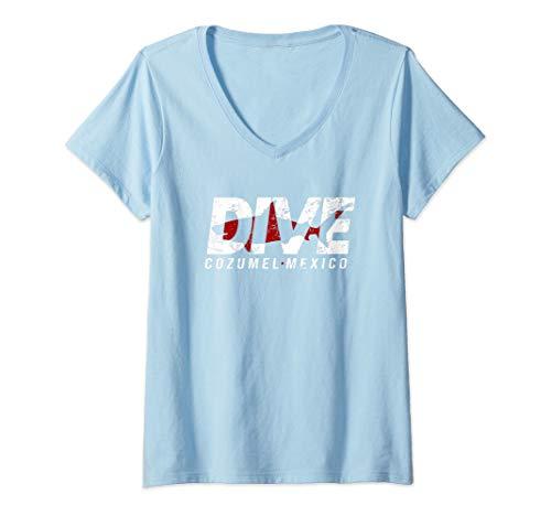 Womens DIVE Cozumel Mexico SCUBA DIVING Diver  V-Neck T-Shirt (Dive Cozumel)