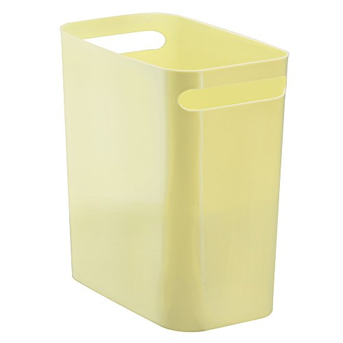 InterDesign Una Rectangular Trash Can with Handles, Waste Basket Garbage Can for Bathroom, Bedroom, Home Office, Dorm, College, 12-Inch, Light Yellow (Yellow Trash Can For Bedroom)