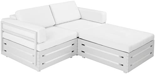 Slim Furniture Full Size Furniture 3 Piece Loveseat with wood and Fabric, Full Size, White