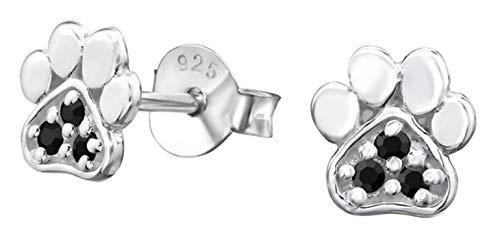 (Hypoallergenic Sterling Silver Paw Print Very Tiny Stud Earrings (Nickel Free) (Black CZ Jet))