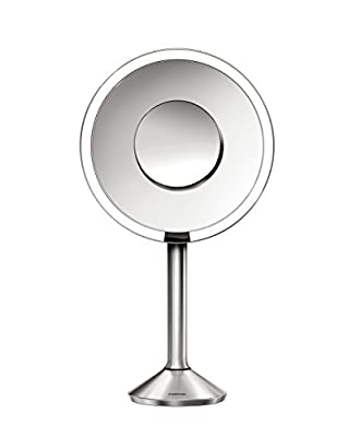 simplehuman 8 Inch Round Sensor Mirror Pro (Adjustable Color Temperature + Wifi-Enabled), Sensor-Activated Lighted Vanity Mirror, 5x + 10x Magnification