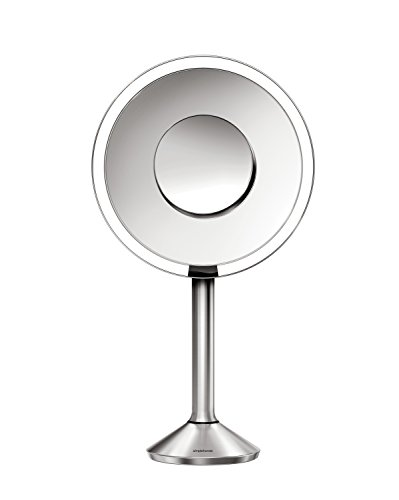 simplehuman Sensor Mirror Pro, 8 inch Round Lighted Makeup Mirror, 5x Magnification, Adjustable Color Temperature, Wifi-Enabled by simplehuman