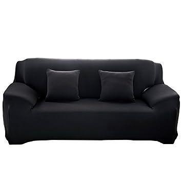WATTA Black 3 Seater Stretch Elastic Polyester Spandex Slipcover