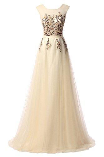 A Applikation Rundkragen Damen Promkleid Champagner Ivydressing Linie Abendkleid Festkleid 1wFSxZ