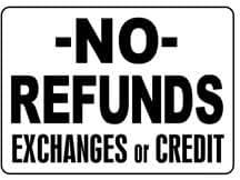 No REFUNDS intercambios o de crédito 10x 14resistente plástico señal