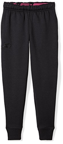 Starter Girls' Jogger Sweatpants, Prime Exclusive, Black with Embroidered Logo, S (6/6X)