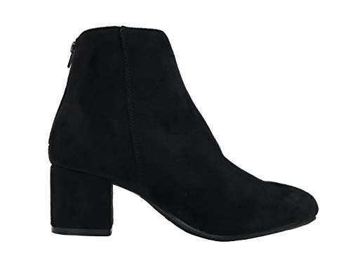 Embroidery Toe W Bootie Brooklyn Ankle Low Heel Round Women's Collection Black Mid Wells Yq7F66