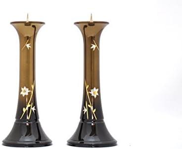 創価 学会 仏具 高級銅器ローソク立て華型ユリ琥珀ボカシ色9寸