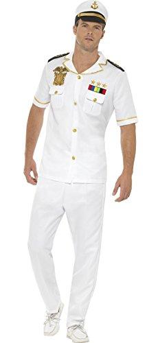 Smiffy's Men's Captain Costume, White, Medium (Mens Sea Captain Halloween Costume)