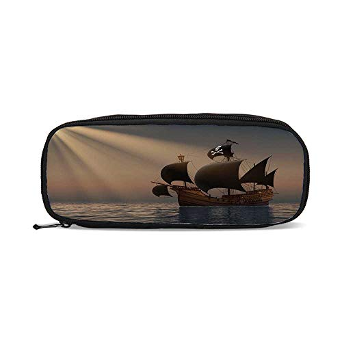 Pirate,Ship with Black Flags Floating on Ocean in Rays of Sun Caravel Watercraft Nautical Decorative,9.4