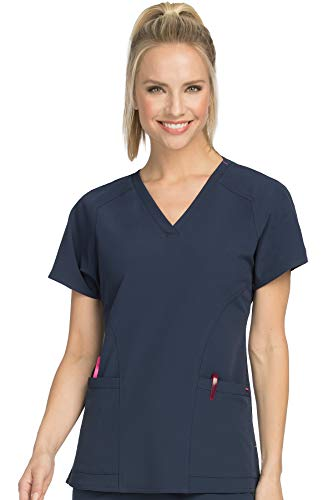 (Med Couture Women's 'Air Collection' Raglan Sleeve Spirit Scrub Top, New Navy/Tango Pink,)
