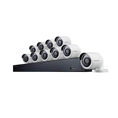 (Samsung Wisenet SDH-C85100BF 16 Channel 4MP Super HD DVR Video Security System with 2TB Hard Drive and 10 4MP Weather Resistant Bullet Cameras (SDC-89440BF) -)