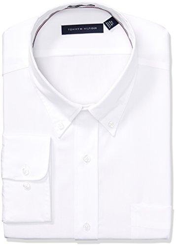 Tommy Hilfiger Men's Non Iron Regular Fit Solid Button Down Collar Dress Shirt, White, 18.5