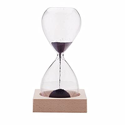 "AOMAG Hand-Blown Timer Magnet Hourglass/Magnetic Hourglass Sand Timer Clock Glass Classic Home Desk Decor - Materials:glass,magnetic,and iron filings Dimensions (hourglass):5.7"" high x 2.3"" diameter;Dimensions (base):3"" x 3"" x 0.7"" Sand is replaced with magnetic iron filings that form interesting, artistic patterns - clocks, bedroom-decor, bedroom - 31aen1o0h6L. SS400  -"